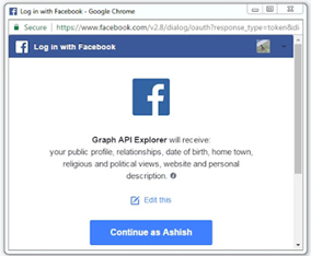 Get Facebook profile detail using restfb Graph API in Java & ADF by