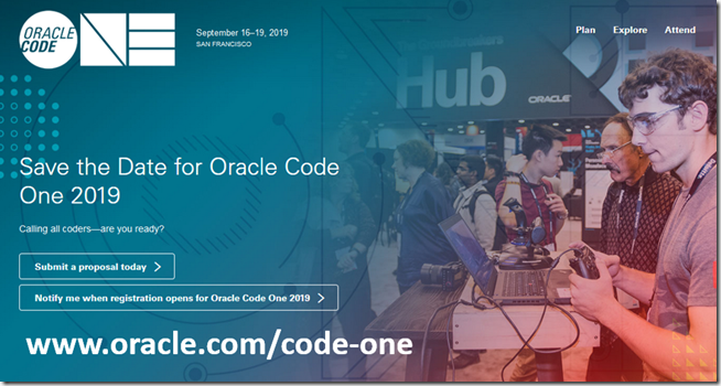 Call for papers Oracle Code One 2019 | Oracle WebLogic